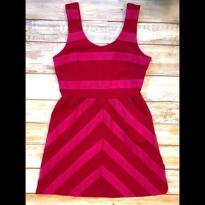 Julie Brown Red & Pink Fit & Flare Dress Sz M